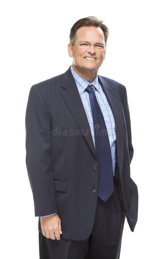 Souriant, homme d'affaires bel Portrait sur le blanc images stock