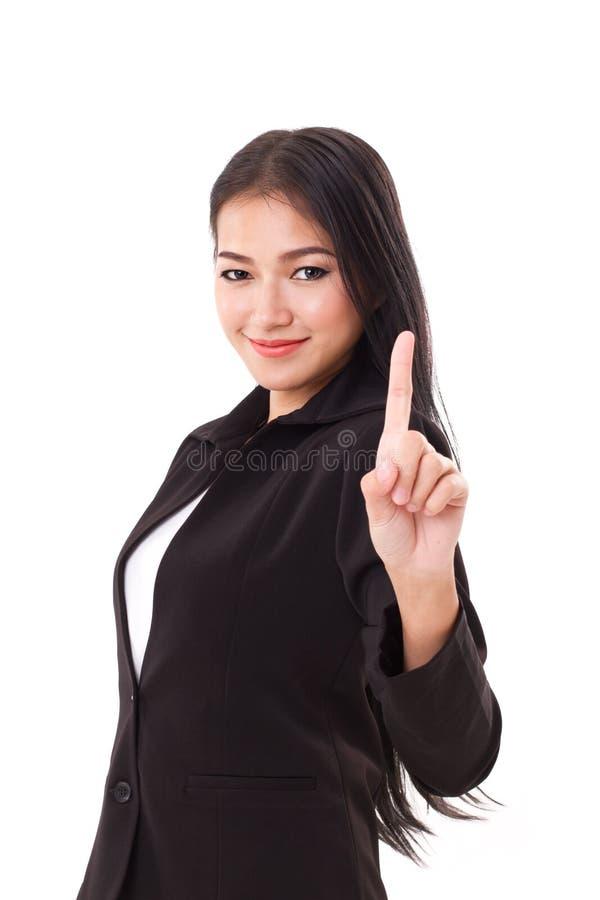 Souriant, représentation sûre et réussie de cadre supérieur féminin d'affaires aucune 1 geste de main photos libres de droits
