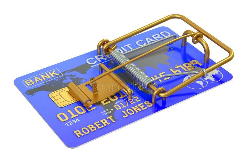 Souricière à clapet avec la carte de crédit illustration de vecteur