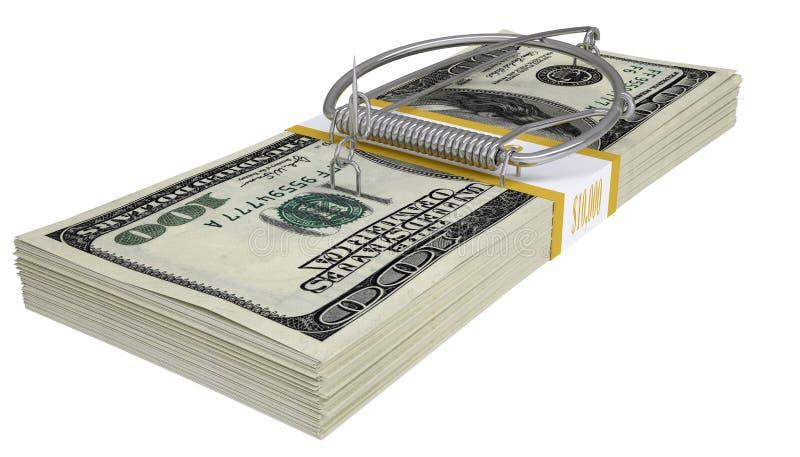 Souricière à clapet sur un paquet d'argent Concept d'affaires images stock
