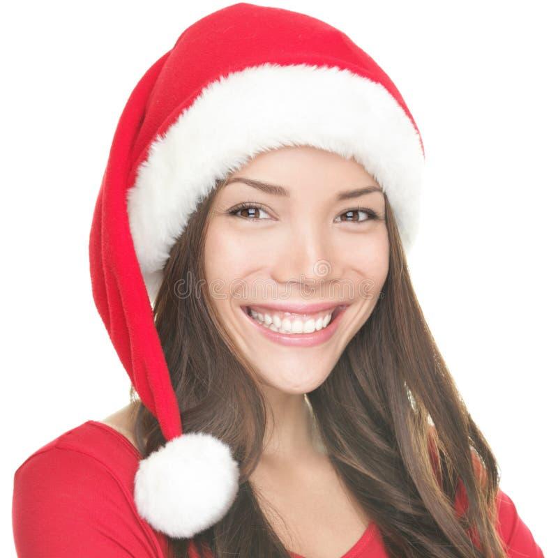 Sourire asiatique de fille de Santa images libres de droits
