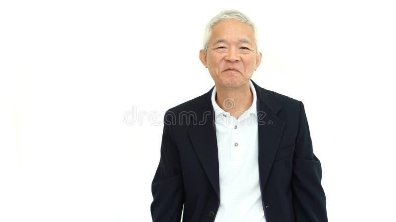 Sourire asiatique de succès de directeur d'homme d'affaires heureuses sur le blanc d'isolement photo stock