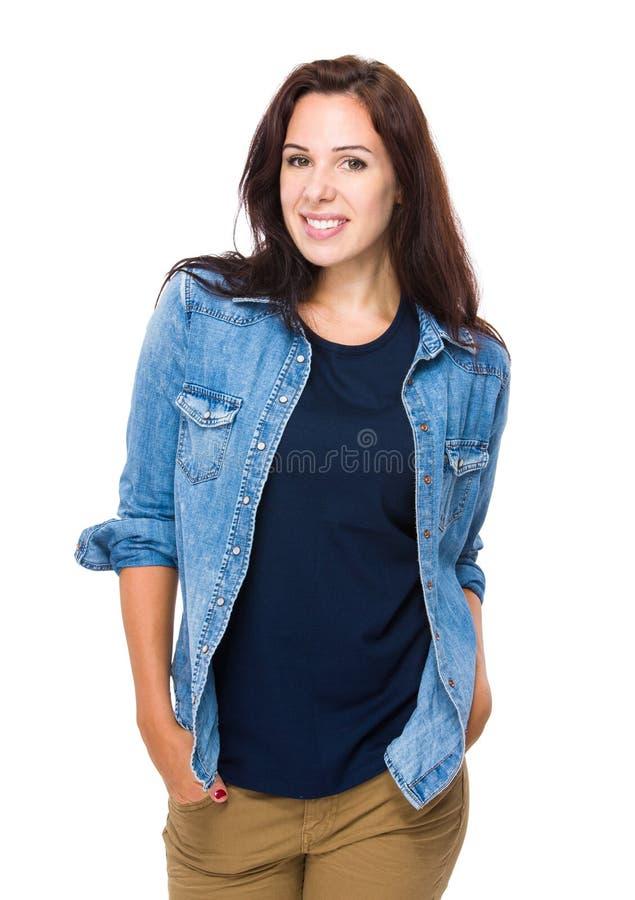 Download Sourire caucasien de femme photo stock. Image du brunette - 45365520