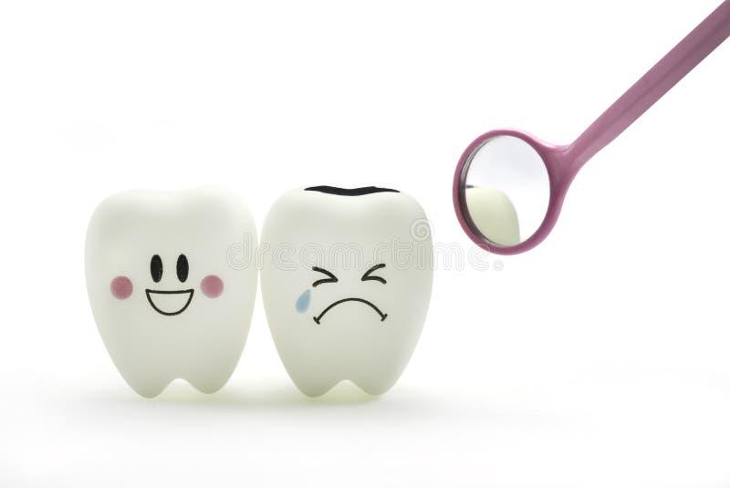 Sourire de dent et pleurer avec le miroir dentaire image libre de droits