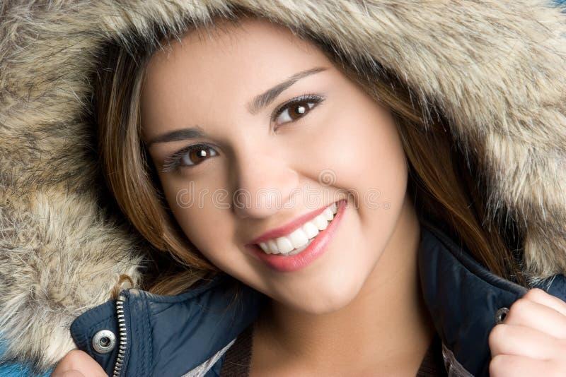 Sourire de fille de l'hiver photographie stock