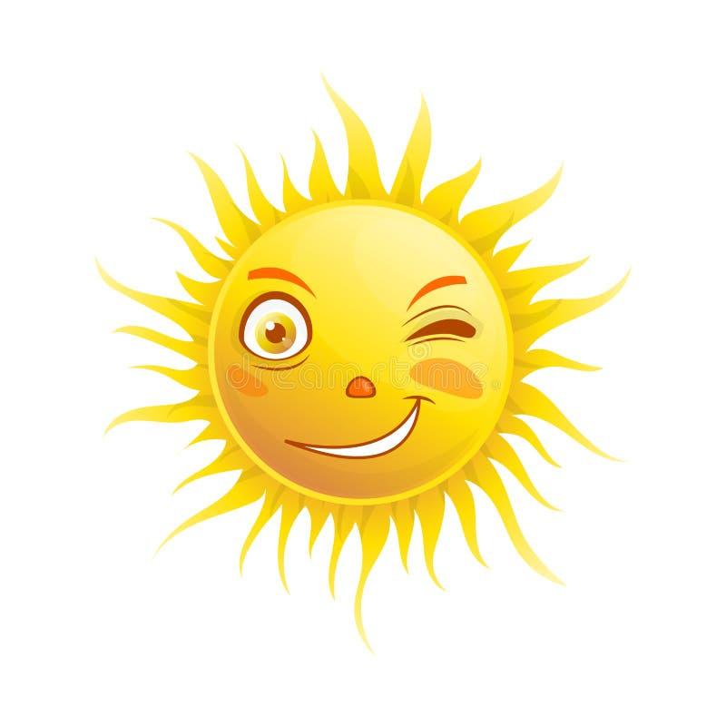 Sourire de Sun clignant de l'oeil l'icône de vecteur de visage d'emoji d'été d'émoticône de bande dessinée illustration libre de droits