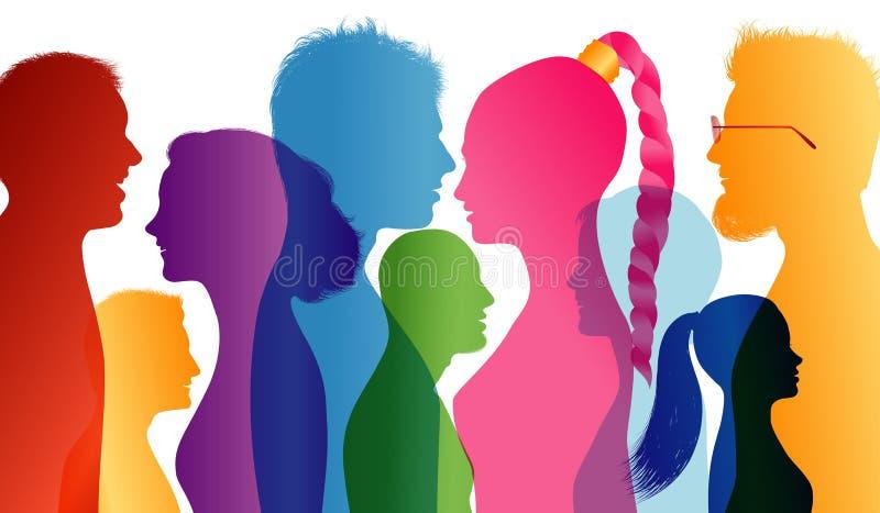 Sourire des jeunes Sourire d'étudiants Les jeunes qui vont bien ensemble Profils des silhouettes colorées par jeunes Multiple de  illustration stock