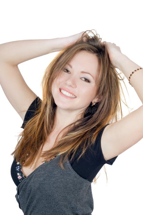sourire espiègle de verticale de fille images libres de droits