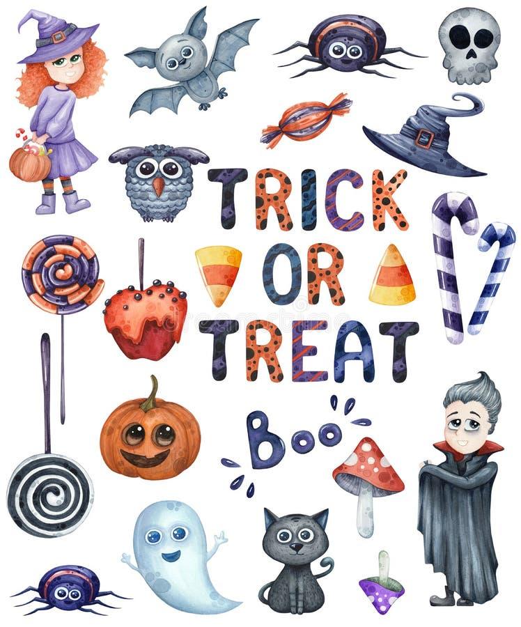 Sourire et ensemble drôle d'illustrations d'aquarelle de Halloween illustration stock