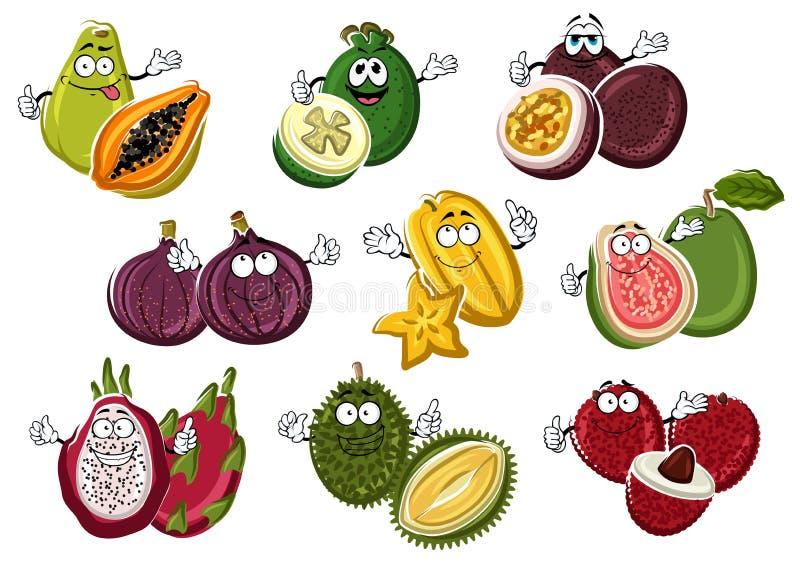 Sourire et fruits heureux de bande dessinée avec des mains illustration stock
