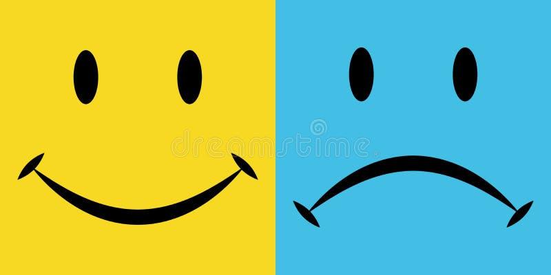 Sourire et peine, la joie et la déception d'émotions, icônes de vecteur, émotions de bonheur et tristesse illustration de vecteur