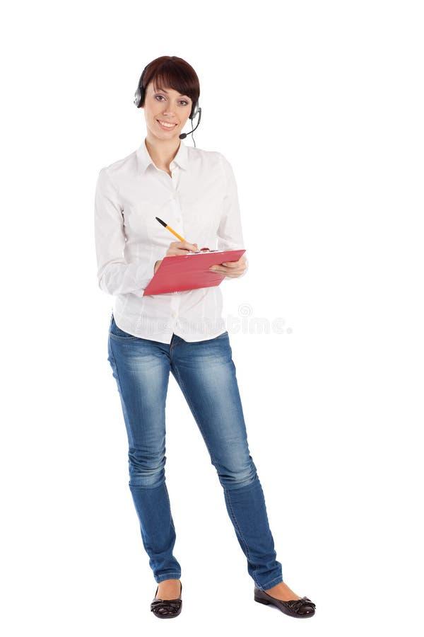 Sourire femelle d'intervenant du service client images stock
