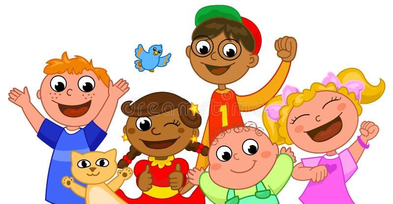 Sourire heureux de cinq gosses illustration de vecteur