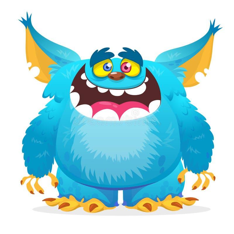 Sourire heureux de monstre de bande dessinée Monstre de bleu de vecteur de Halloween illustration libre de droits
