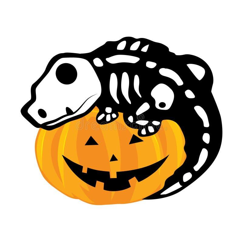 Sourire heureux de potiron, squelette de lézard illustration stock