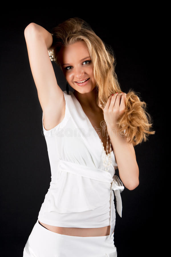 Sourire heureux femme blond assez sexy images stock