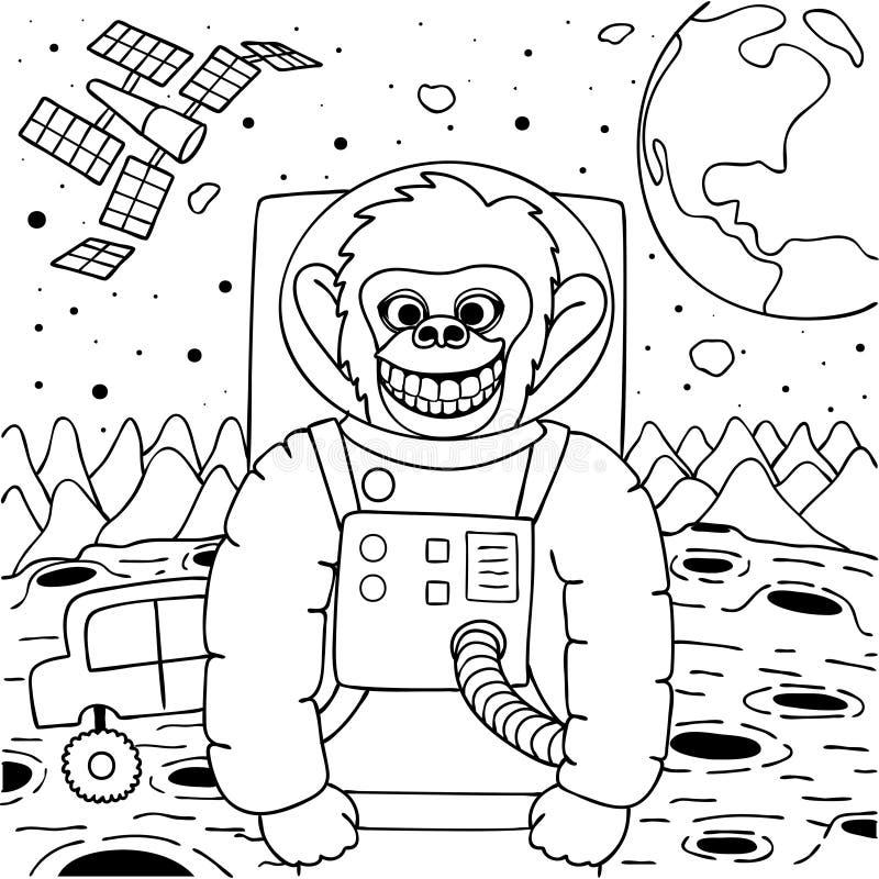 Sourire heureux mignon de singe à l'appareil-photo illustration stock
