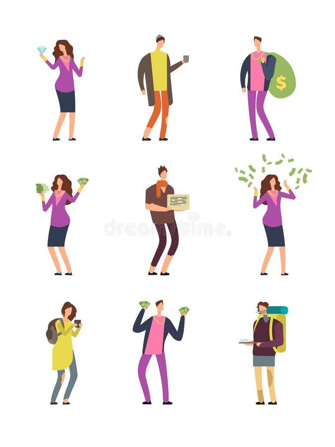 Sourire heureux pauvres personnes tristes riches et malheureuses Les personnages de dessin animé de vecteur de classes sociales o illustration libre de droits