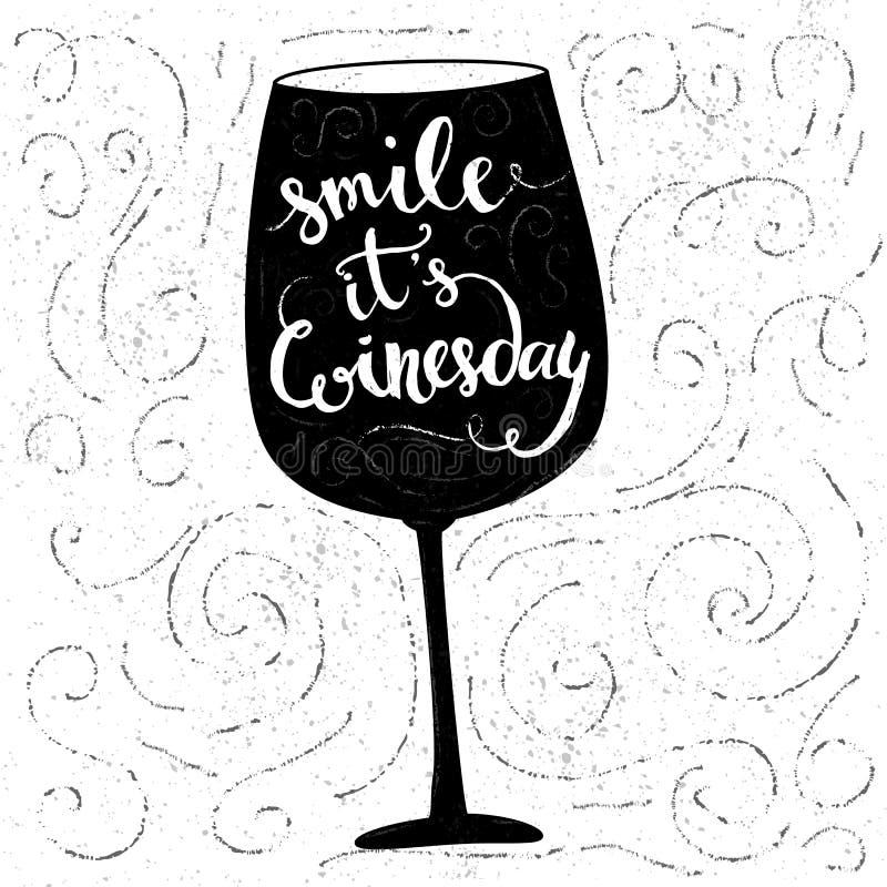Sourire, il est winesday - citation inspirée illustration de vecteur