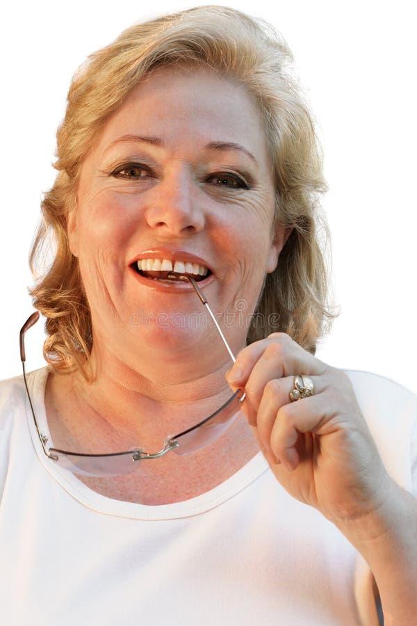 Sourire mûr Relaxed de femme photographie stock libre de droits