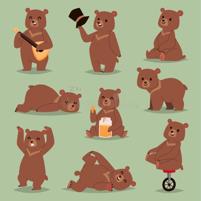 Sourire mammifère de sourire heureux de nounours de dessin d'ours de caractère brun d'émotions d'ours de vecteur de bande dessiné illustration de vecteur