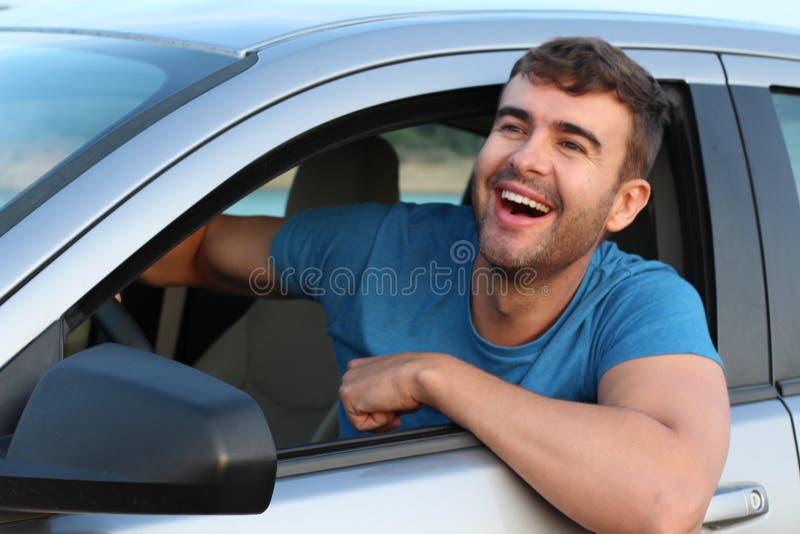 Sourire masculin très mignon de conducteur photographie stock libre de droits
