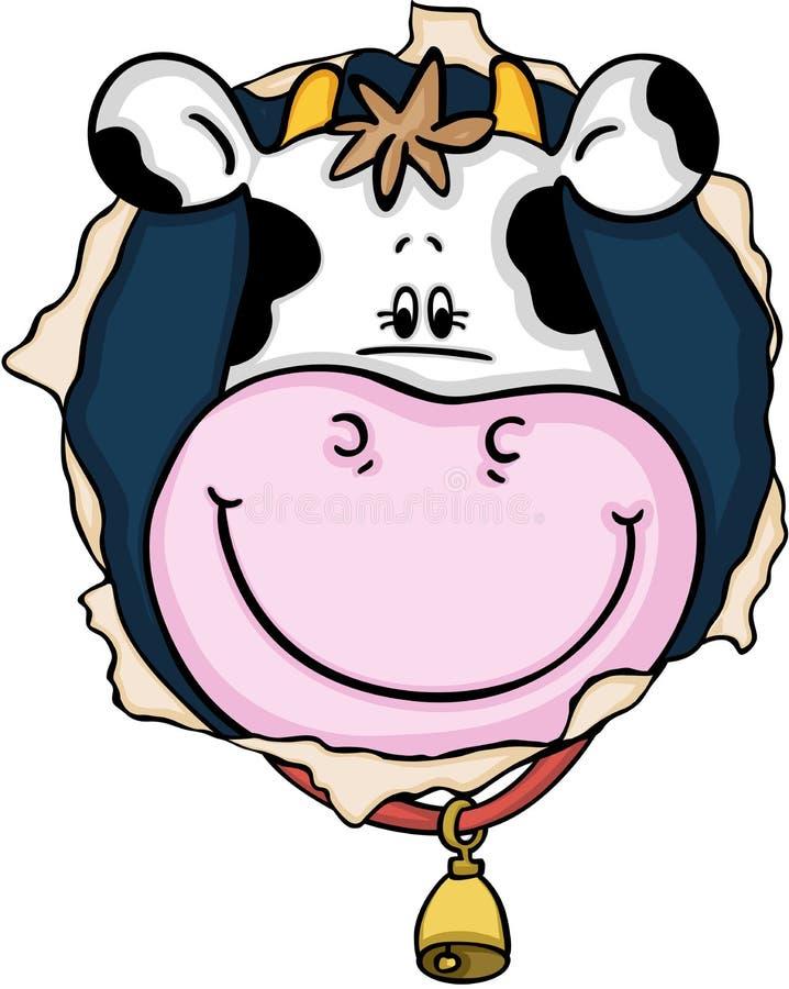 Sourire mignon de vache sur le trou illustration de vecteur