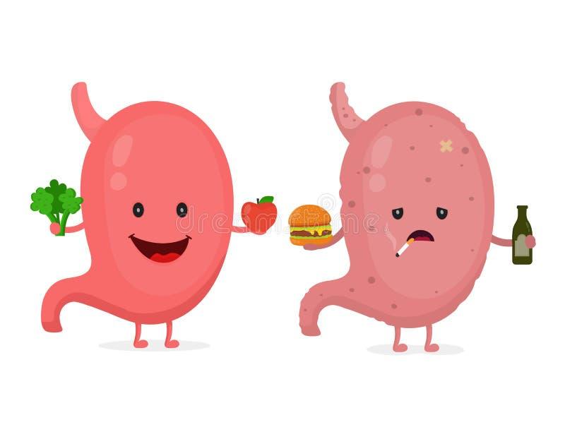 Sourire mignon heureux sain avec le brocoli illustration stock