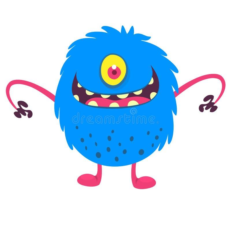 Sourire observé de monstre de la bande dessinée la mignonne Illustration de vecteur de monstre velu bleu Conception de Halloween illustration stock