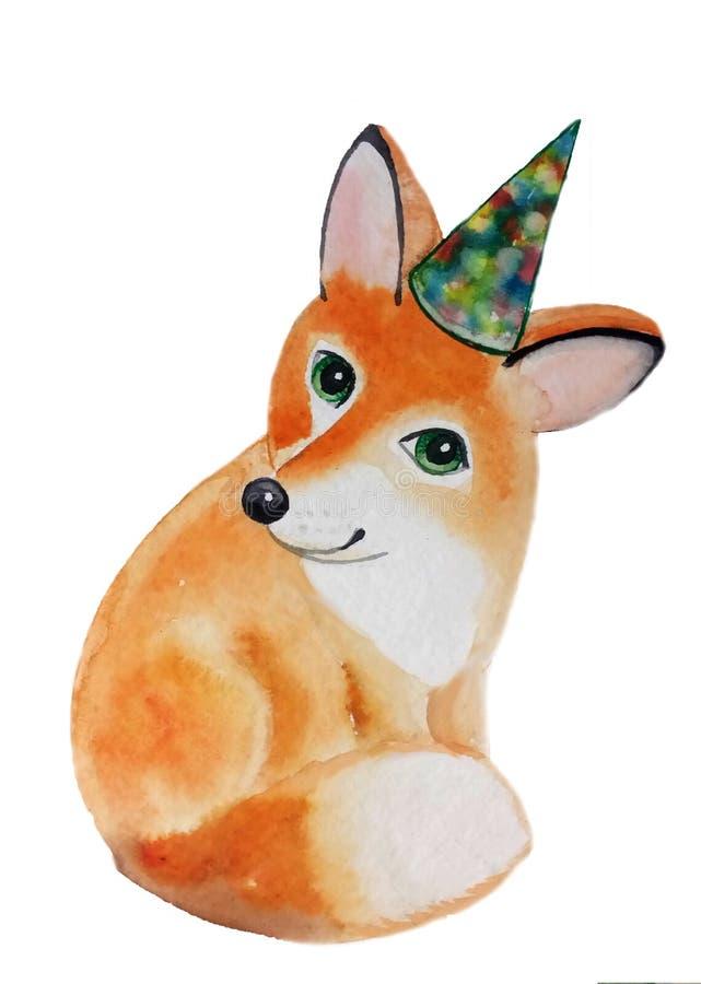 Sourire se reposant pelucheux de Fox dans l'anniversaire de chapeau illustration stock