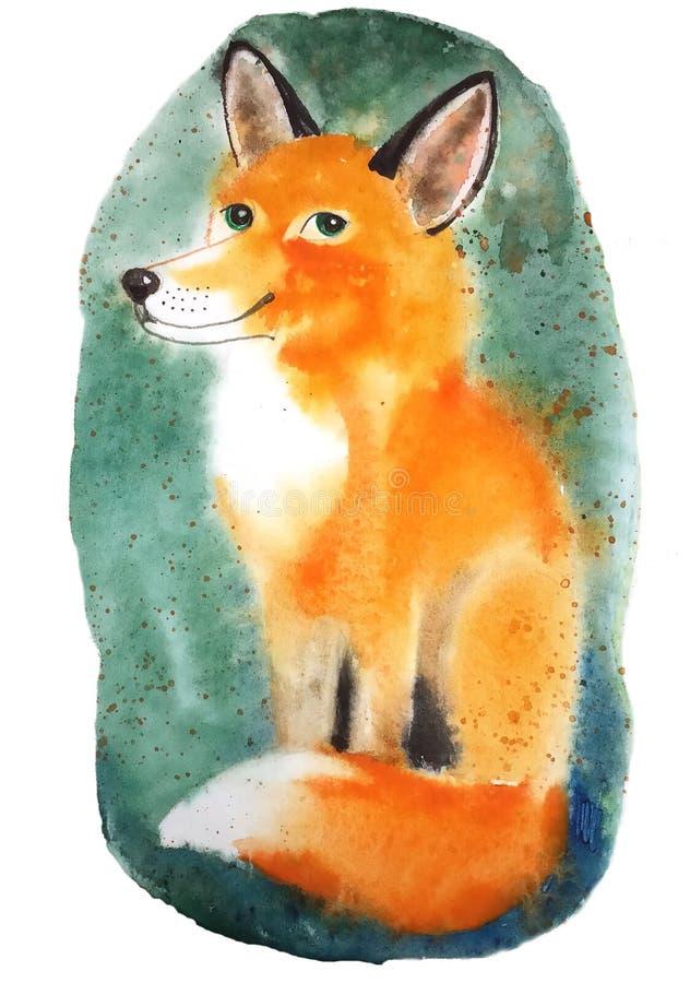 Sourire se reposant rouge pelucheux de Fox nous regardant avec les yeux verts illustration de vecteur