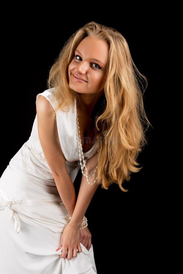 Sourire sexy positiveness de expression assez blond photos stock