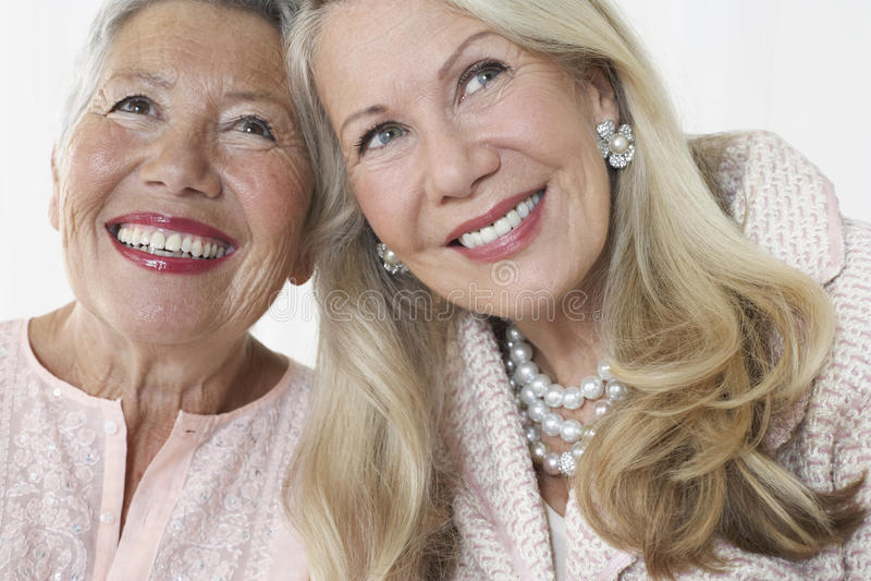 Sourire supérieur élégant de deux femmes image libre de droits