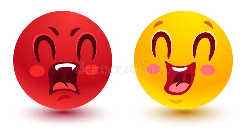Sourires amusants et en colère illustration libre de droits