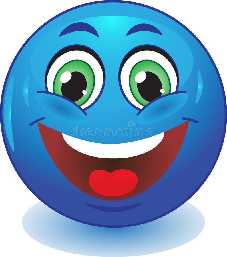 Sourires bleus de smiley illustration de vecteur