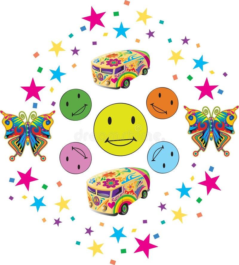 Sourires colorés avec Confettii et jouets illustration stock