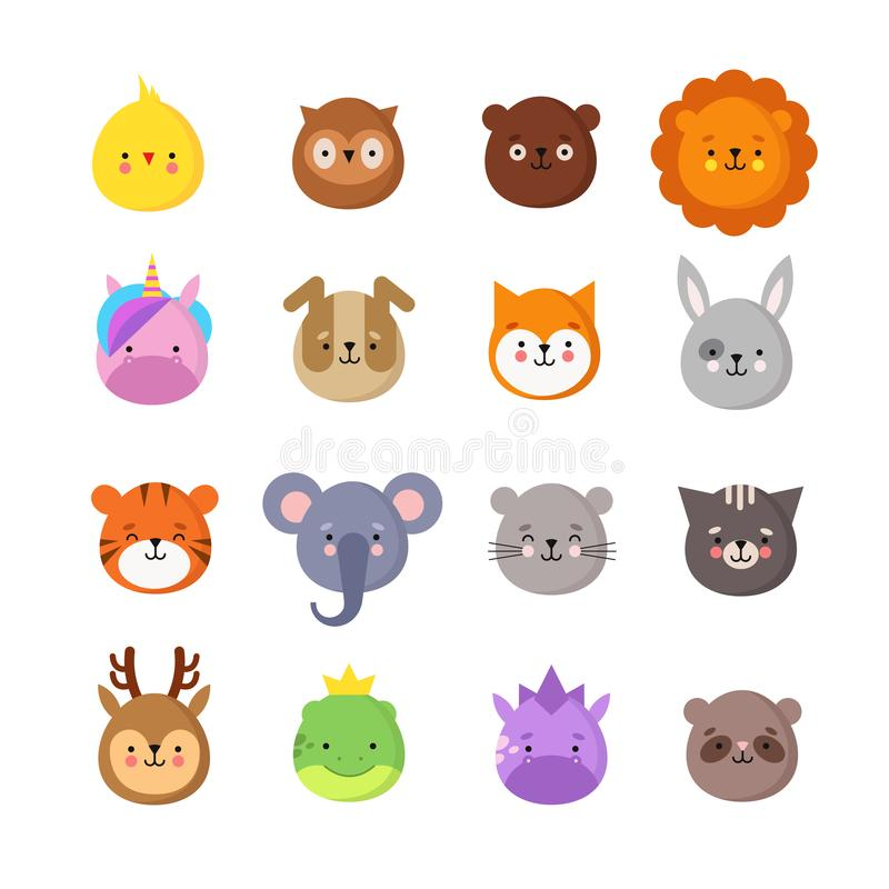 Sourires de manga d'animaux Émoticônes mignonnes d'animal de bébé de kawaii Dragon de licorne, tigre d'éléphant, lion et hibou Av illustration de vecteur