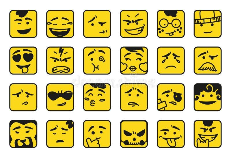 sourires Ensemble d'émoticônes ou de ligne icônes d'illustration d'emoji Les icônes de sourire l'illustration d'isolement de vect illustration de vecteur