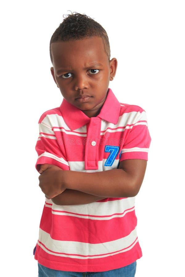 Sourires noirs afro-américains d'enfant d'isolement photos libres de droits