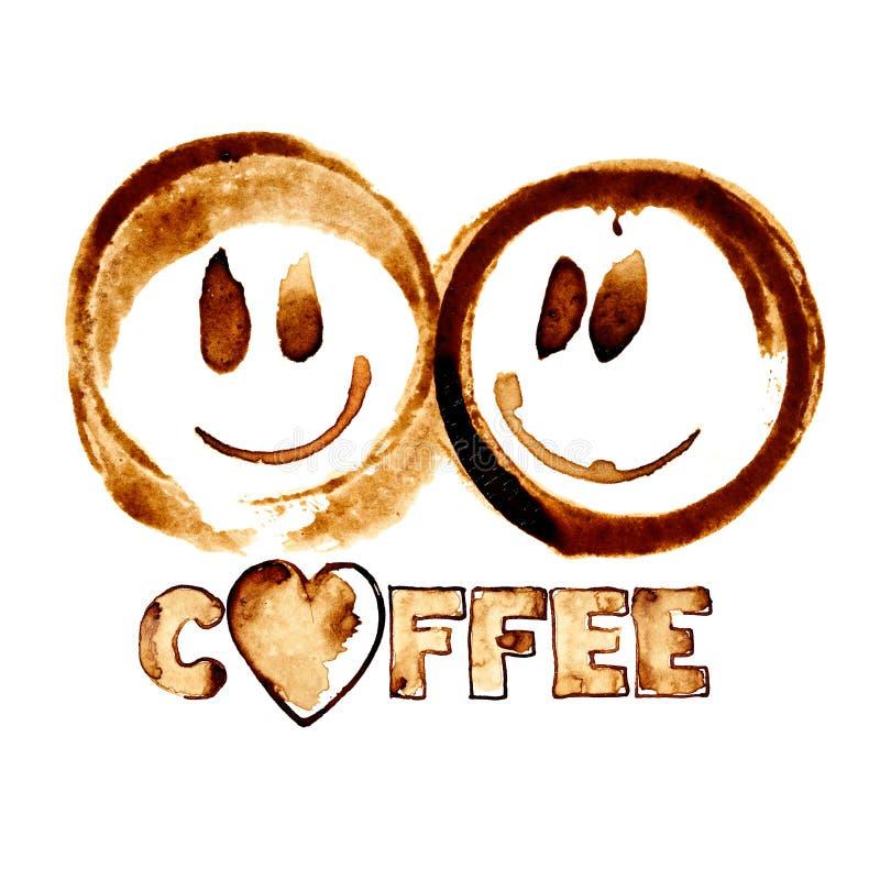 Sourires par des taches de café illustration de vecteur