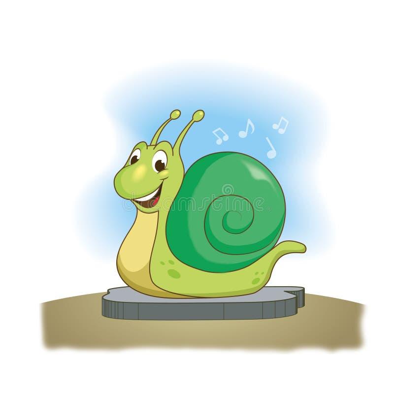 Sourires verts drôles d'escargot , illustration illustration libre de droits
