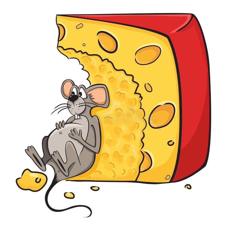 Souris avec du fromage illustration libre de droits