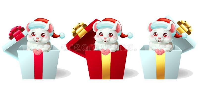 Souris blanche et rose mignonne réglée dans la boîte avec le chapeau images libres de droits
