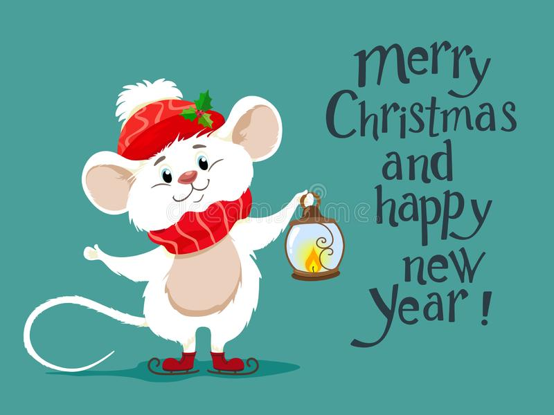 Souris blanche mignonne dans une écharpe et un chapeau rouge, un symbole de 2020 Caractère de vecteur de ratatouille dans le styl illustration libre de droits