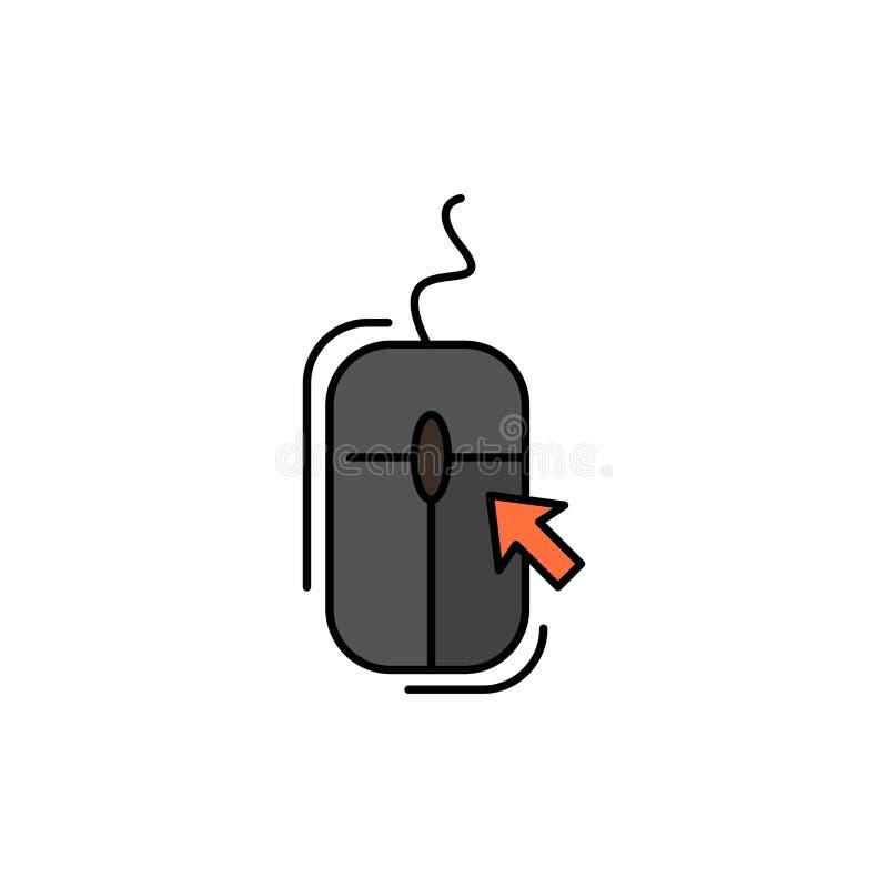 Souris, clic, Internet, icône plate en ligne et faisante des emplettes de couleur Calibre de bannière d'icône de vecteur illustration stock
