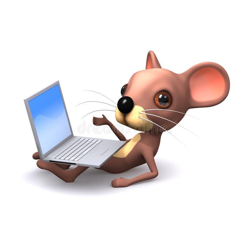 souris 3d avec l'ordinateur portable illustration de vecteur