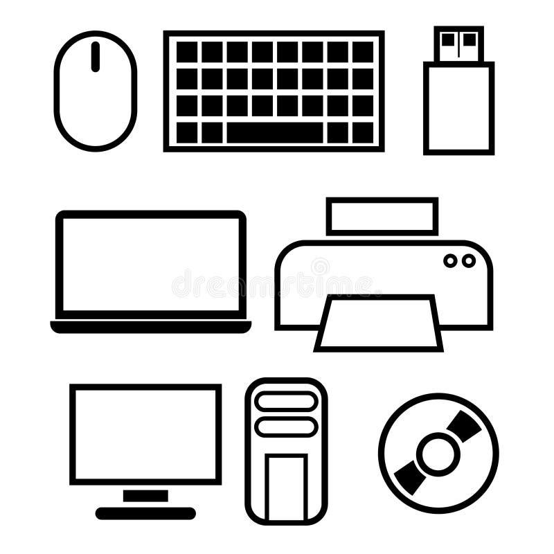 Souris d'icône, clavier, usb, disque dur à mémoire flash, imprimante, ordinateur portable, disque, unité centrale de traitement p illustration de vecteur
