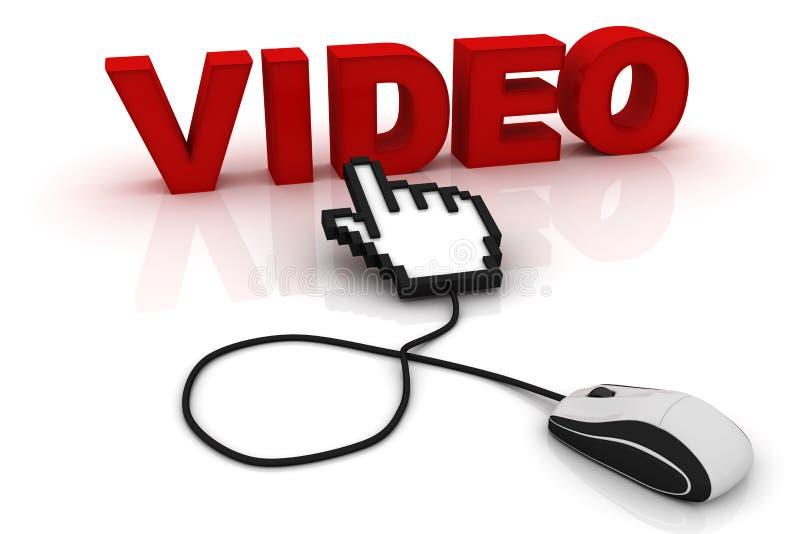 Souris d'ordinateur et la vidéo de mot illustration stock