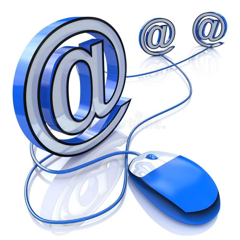 Souris d'ordinateur reliée au signe d'email illustration de vecteur