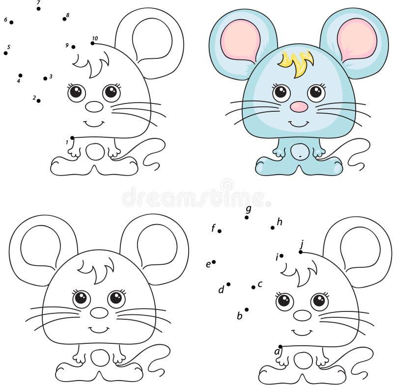 Souris de dessin animé Livre de coloriage et point pour pointiller le jeu pour des enfants illustration de vecteur
